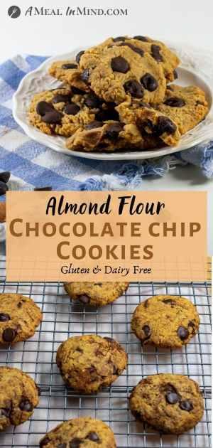 Almond Flour Dark Chocolate Chip Cookies pinterest collage 2