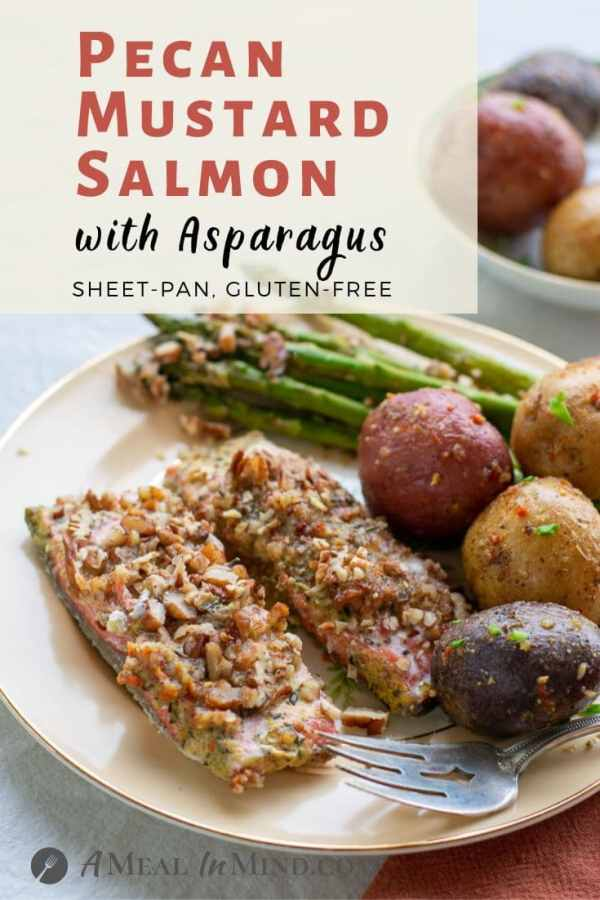 Pecan Mustard Salmon with Asparagus pinterest image