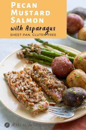 Pecan Mustard Salmon with Asparagus pinterest image