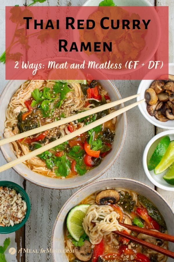thai red curry ramen in bowls with toppings