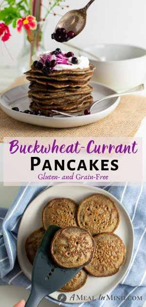 Buckwheat-Currant Pancakes Gluten Free pinterest collage