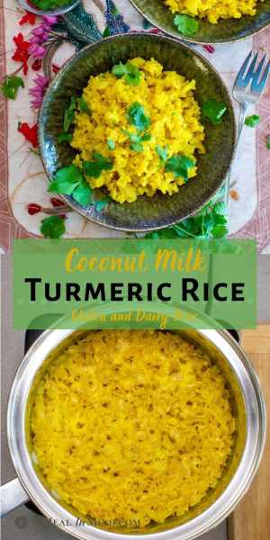 Coconut Turmeric Rice pinterest collage