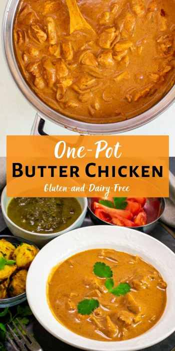 One-Pot Butter Chicken tall pinterest collage