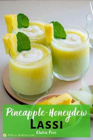 Layered Pineapple-Honeydew Lassi in three glasses with pineapple and mint