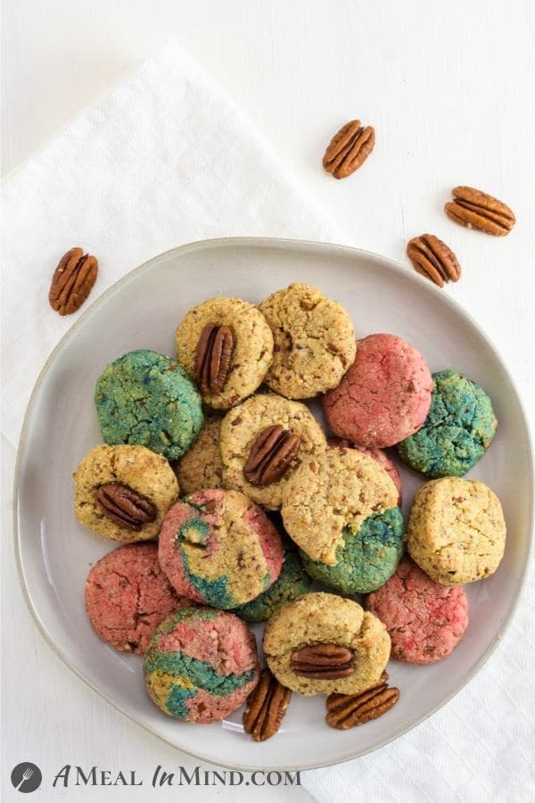Pecan Almond Flour Red White and Blue Cookies on gray plate overhead