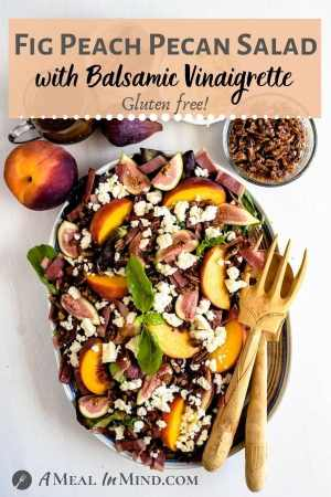 Fig-Peach Pecan Salad with Feta and Balsamic Vinaigrette pinterest image