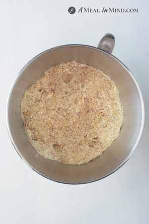 dry ingredients for Low Carb Nut and Seed Bread in mixer bowl