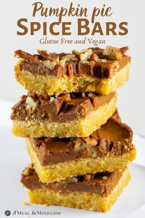 Pumpkin Pie Spice Bars Gluten-Free in stack pinterest image