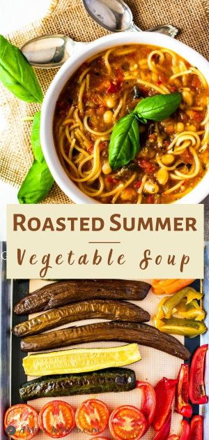 Roasted Summer Vegetable Soup in white bowls and roasting vegetables image