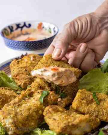 air fryer fish fillets dipped in harissa aioli