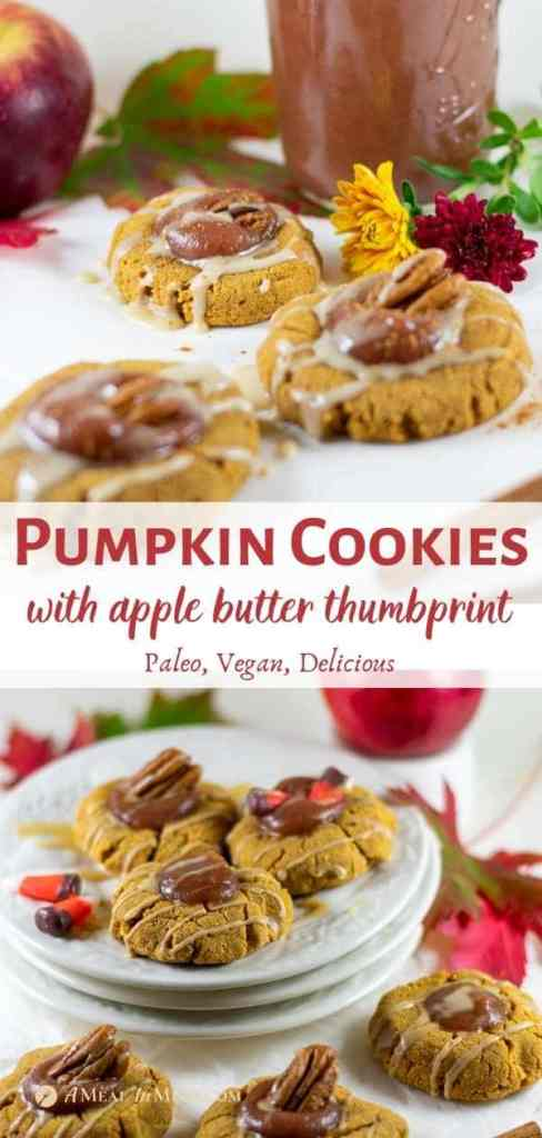pumpkin cookies on white plate with fall leaves and apple butter