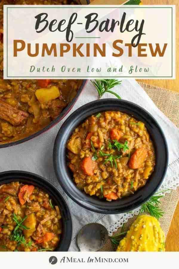 beef-barley pumpkin stew in Dutch oven and black bowls