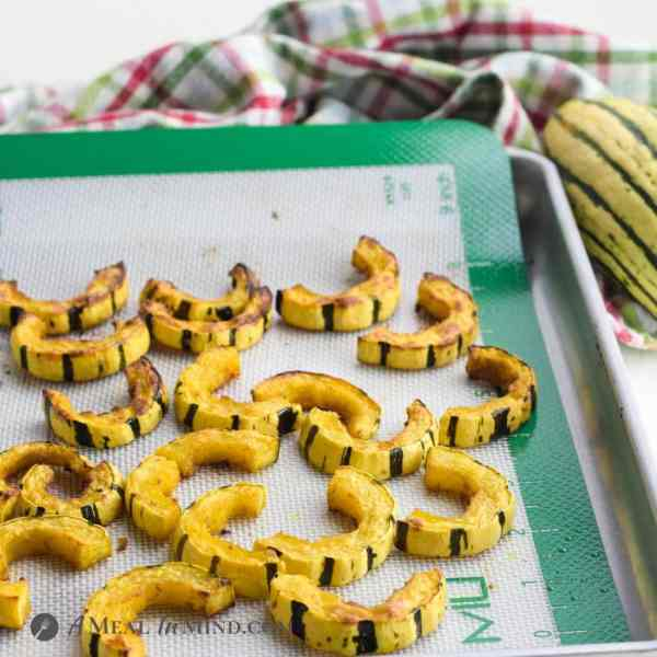roasted delicata squash on toaster oven baking tray