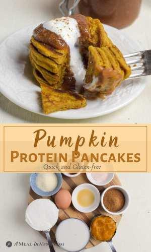 Pumpkin Protein Pancakes pinterest collage