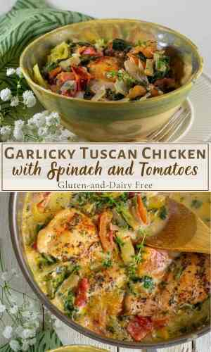 garlicky tuscan chicken with artichokes in skillet pinterest collage