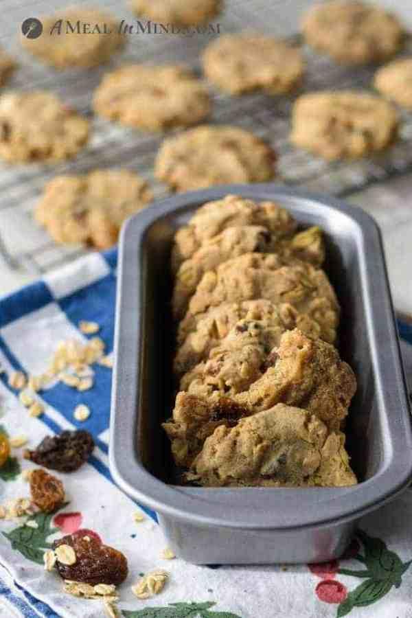 raisin-oatmeal cookies in small baking pan