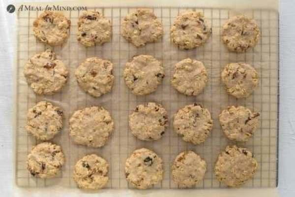 fruit-sweetened raisin oatmeal cookies on cooling rack