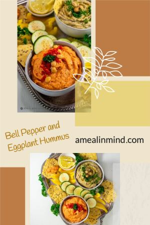 pinterest collage of bell pepper and eggplant hummus dips in small bowls