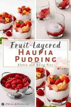fruit layered haupia pudding 4 image collage