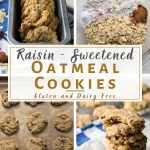 4 image pin of raisin sweetened oatmeal cookies
