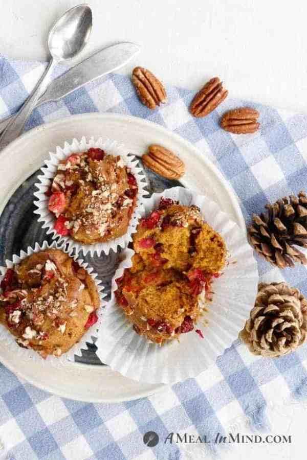 Cranberry-Pecan Pumpkin Muffins - Gluten-Free overhead view on plate