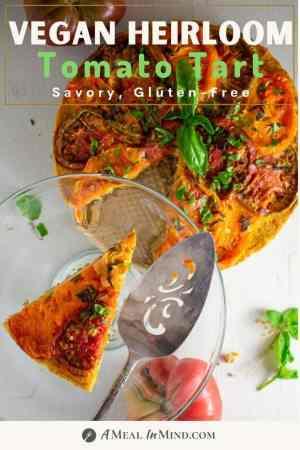 pinterest image of roasted tomato tart