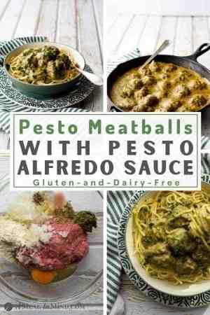 Paleo Pesto Meatballs and Alfredo Sauce pinterest collage