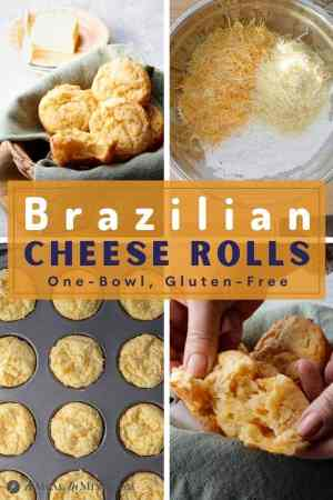 pinterest 4 image collage showing steps in making brazilian cheese rolls