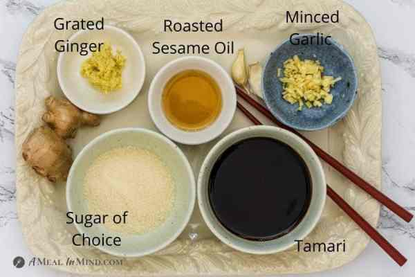 ingredients for teriyaki sauce with labels