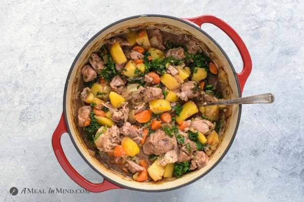 dutch oven irish pork stew ready to serve