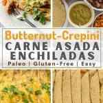4 image collage for crepini beef enchiladas