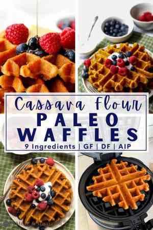 4 image collage of cassava flour waffles