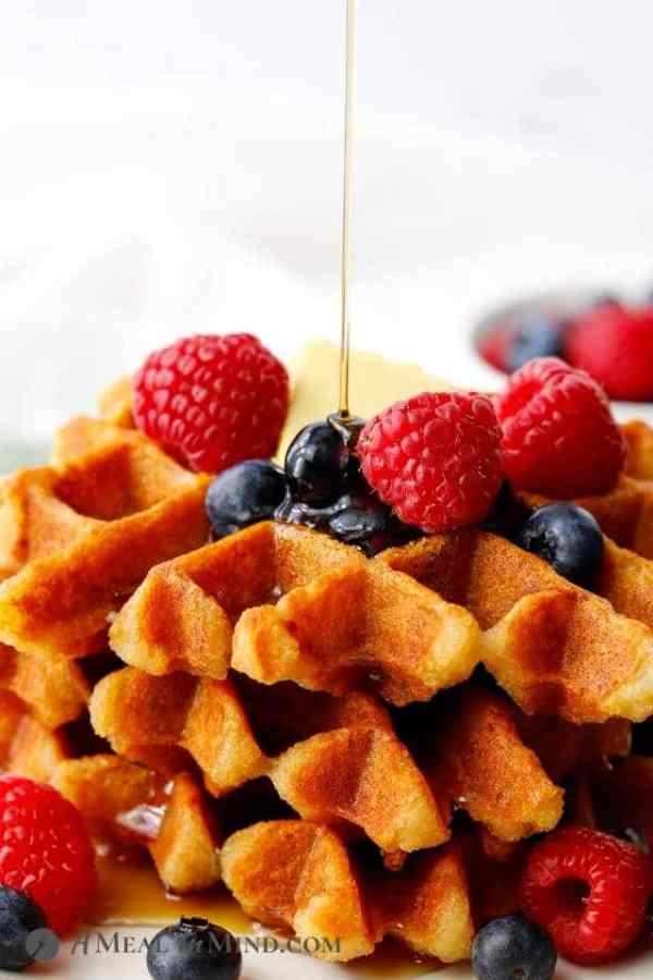 waffles with butter and syrup
