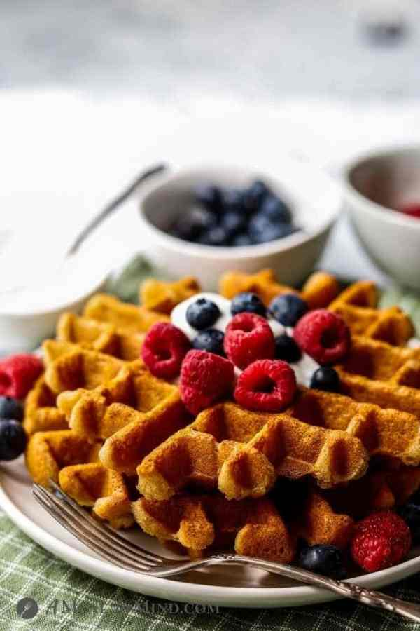 waffles with fruit and yogurt side view