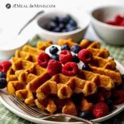 cassava flour waffles with fruit and yogurt