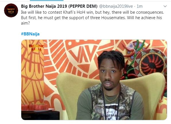 #BBNaija: Ike Disagrees Khafi's Crown, To Compete Against Her For HOH, But There Are Consequences