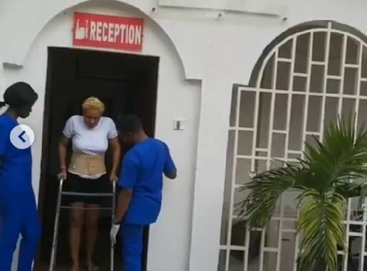 Photos: Nollywood actress, Shan George is on her feet again after spine surgery