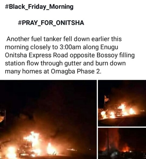 Another Fuel Tanker Falls, Explodes At Omagba Phase 2 Onitsha