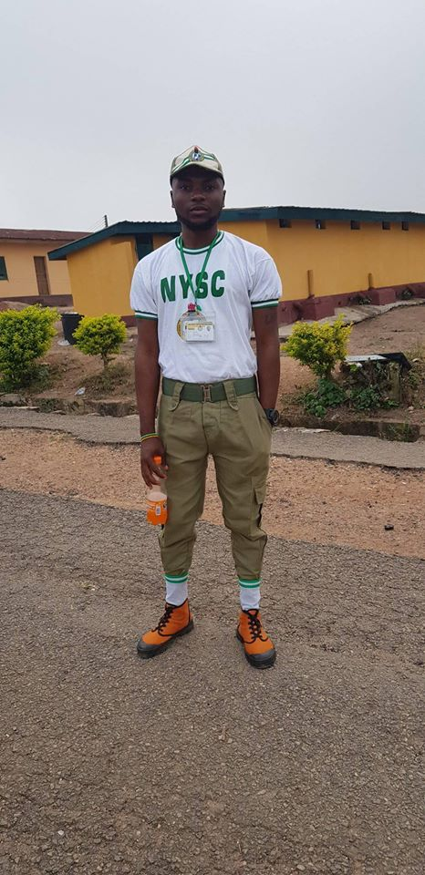 NYSC corper shows off his mother who sold eggs to see him through university