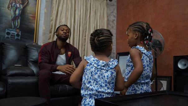 Nigerian Singer Flavour Shares Cute Photo Of His Daughters Gabrielle And Sofia