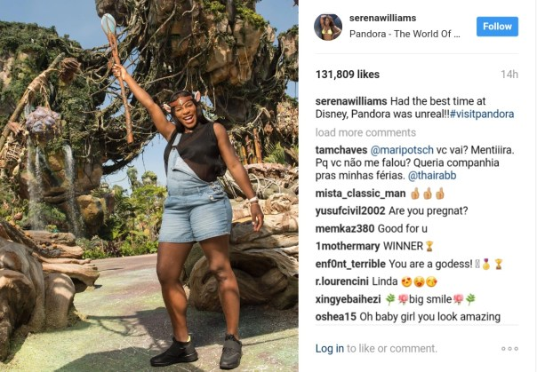 Serena Williams Shows Off Her Baby Bump As She Promotes Disney's Pandora - World Of Avatar 1