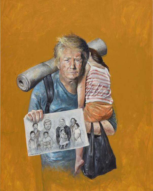 Syrian Artist Abdalla Al Omari Re-imagined US President Donald Trump And Other World Leaders As Refugees