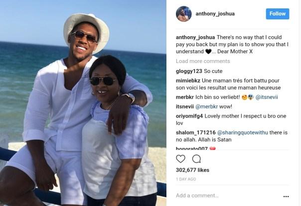 Boxing Champ Anthony Joshua Pays Tribute To Mum (1)
