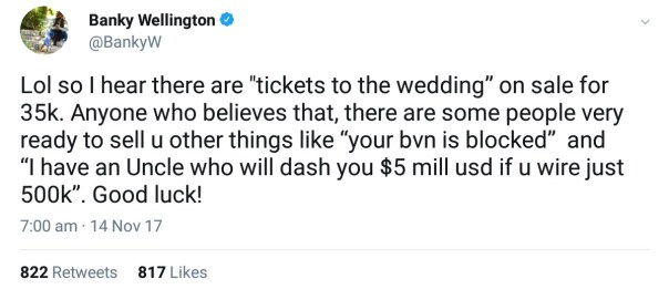 Banky W Response To Rumours That Tickets To His Wedding Are Being Sold (2)