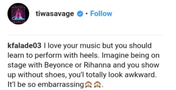Fans Come For Tiwa Savage For Consistently Performing Barefooted (5)