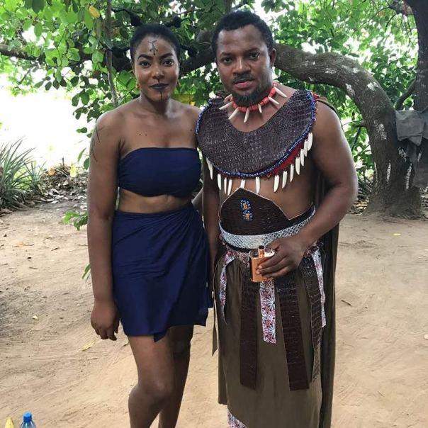 Rosy Meurer Pictured Alongside Walter Anga With Ejike Asiegbu And Rita Daniels On Set Twisted The Movie (7)