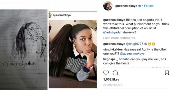 Queen Nwokoye Reacts After Seeing Artist Sketch Of Her (2)