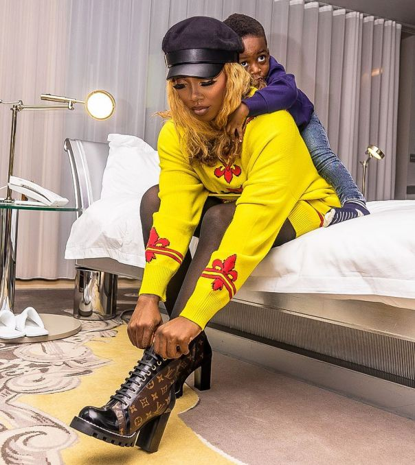 Tiwa Savage Promises To Remind Her Son JamJam When He's Older Of How He Used To Cling Unto Her When She's Going Out (2)