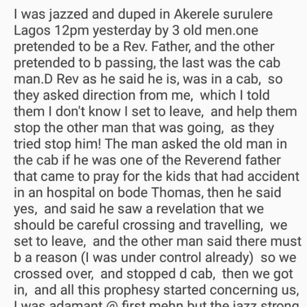 Nigerian Lady Narrates How 3 Old Men Jazzed And Duped Her In Lagos (2)