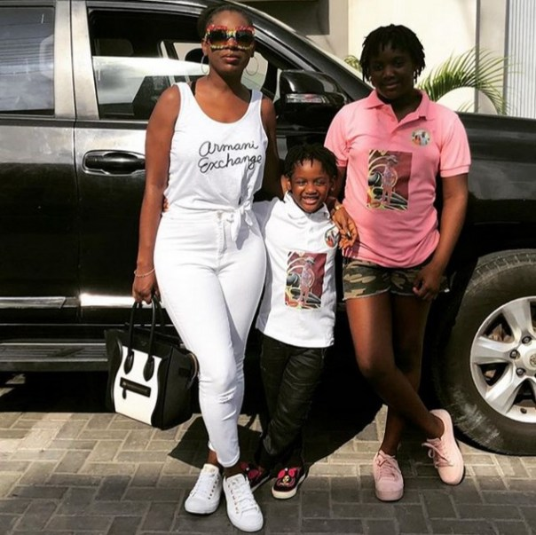 Annie Idibia Looking Stylish While Out With Daughters Isabella And Olivia (2)